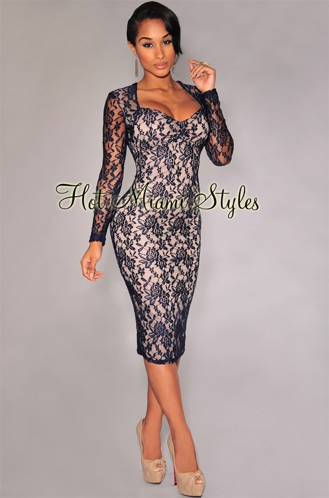 e3af6a8a45d Navy-Blue Lace Nude Illusion Long Sleeves Padded Midi Dress in 2019 ...