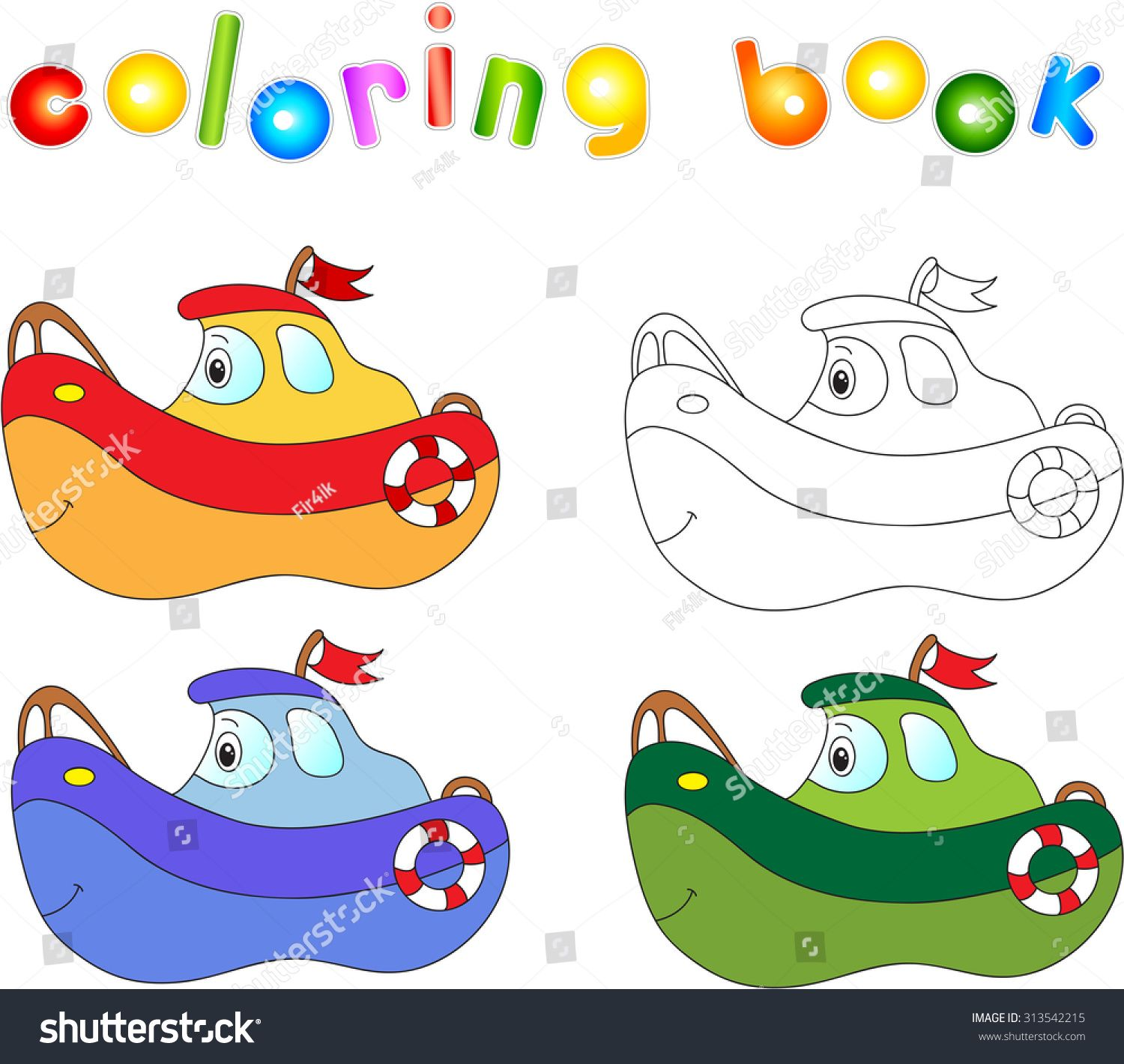 Funny cartoon ship. Coloring book for children. Sponsored