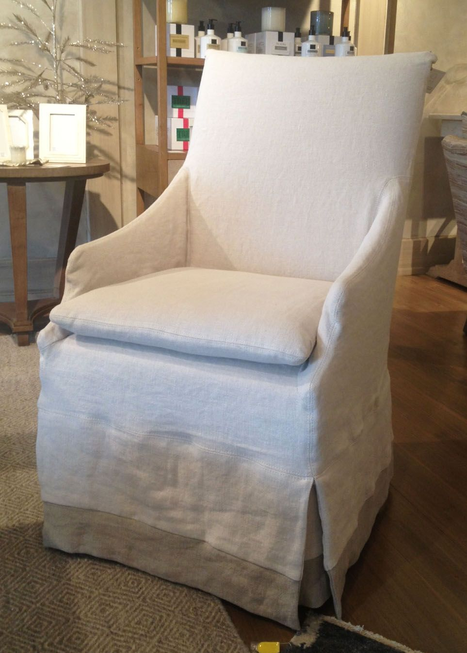 Linen Slipcovered Dining Armchair With Banding Detail 1150