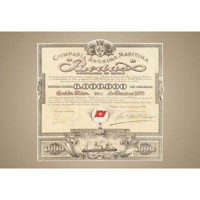 "Buyenlarge 'Compania Anonima Maritima ""Brodas""' Vintage Advertisement Size: 42"" H x 28"" W x 1.5"" D"