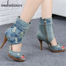 Vintage Denim Peep Toe Mujeres Plataforma Bombas Tacones Altos Verano botas de Damas Retro de Alta Superior Zapatos Casual Mujer Nueva Llegada sandalias(China (Mainland))