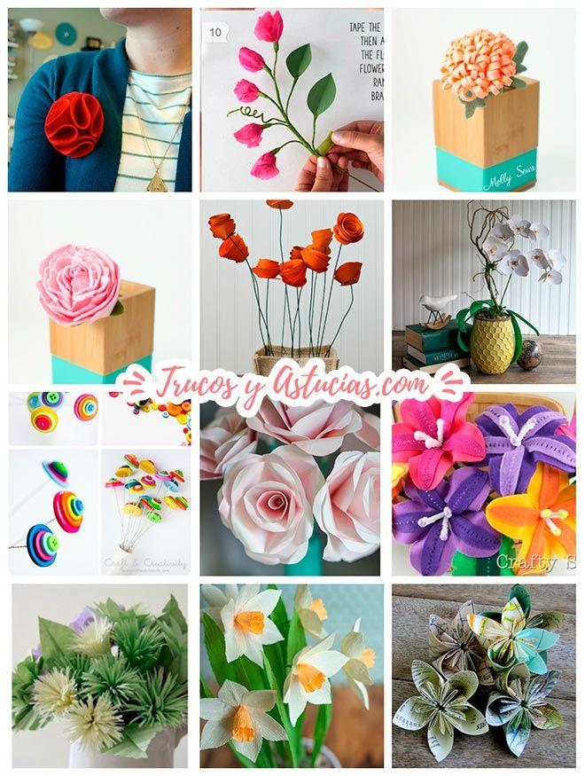 Flores hechas con manualidades diy materiales papel - Ideas de manualidades para vender ...