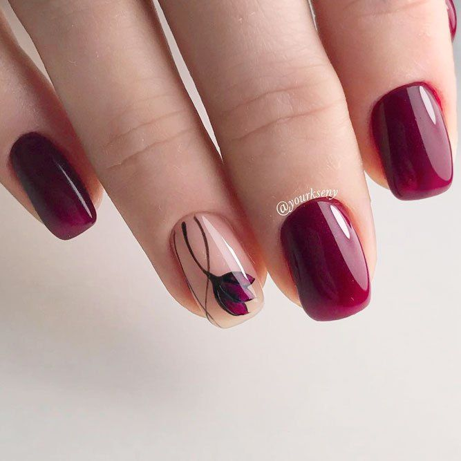 Pretty 27 Dazzling Maroon Nails Designs | Maroon nail designs and ...