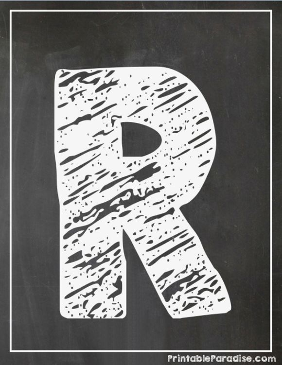 Printable Letter R Chalkboard Writing