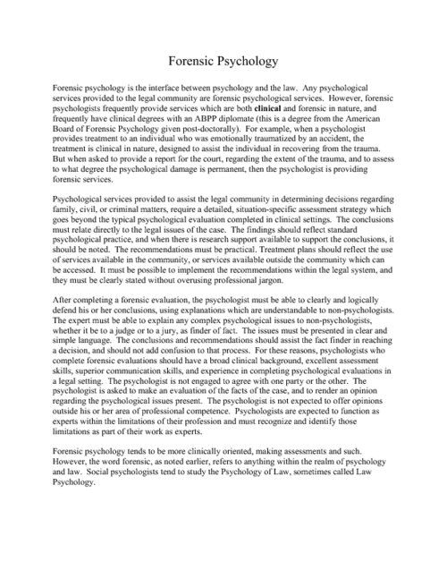 Case Study Example Psychology Criminal Studie Forensic Personal Statement Sample