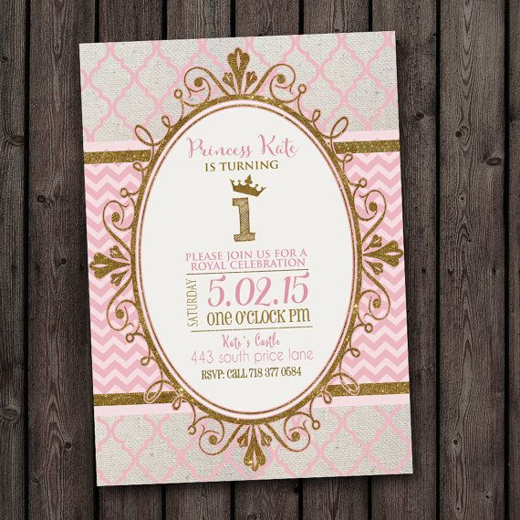 royal princess gold and pink birthday invitation first birthday