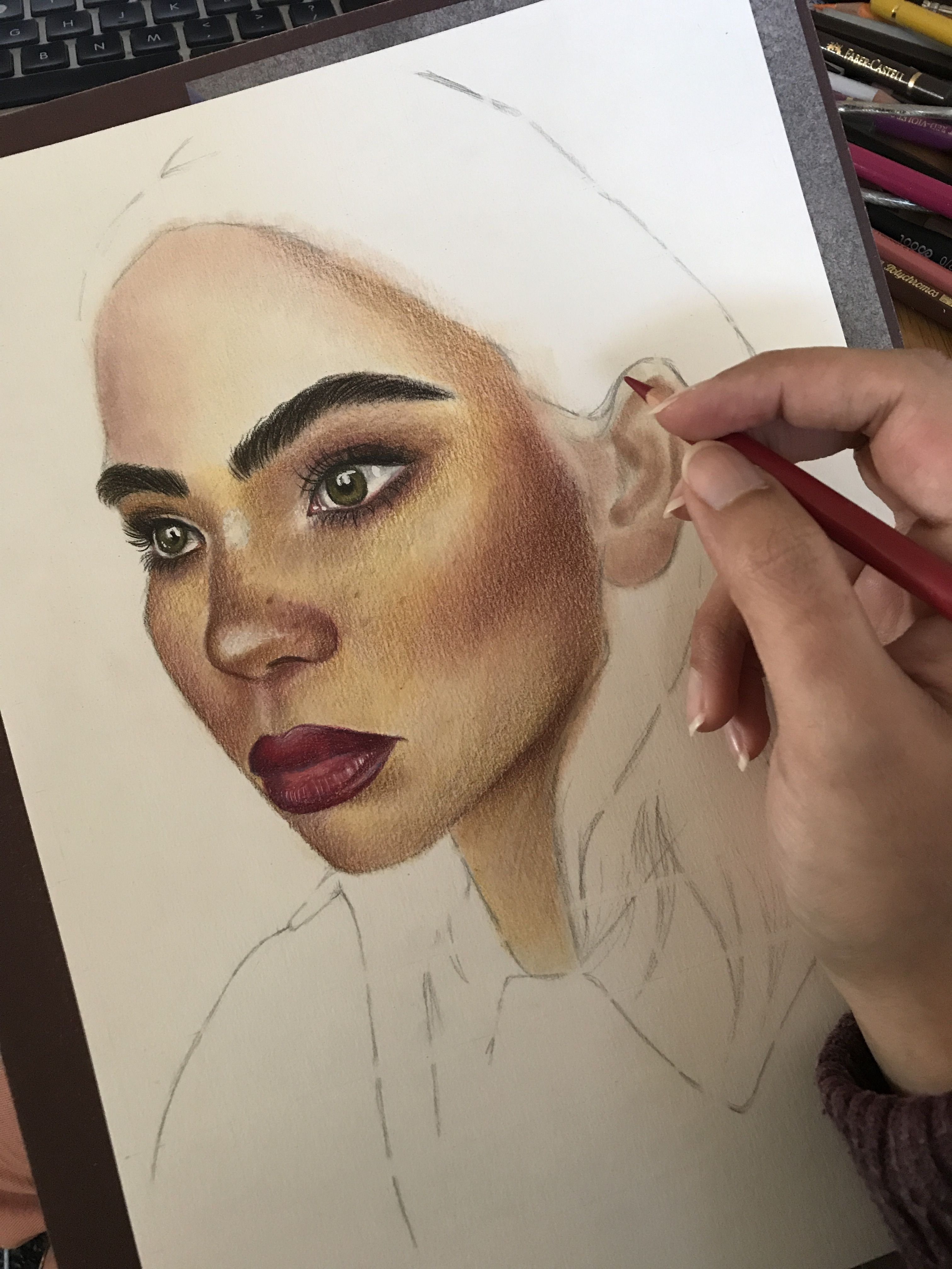 Panpastels and faber castell polychromos pencils portrait drawing