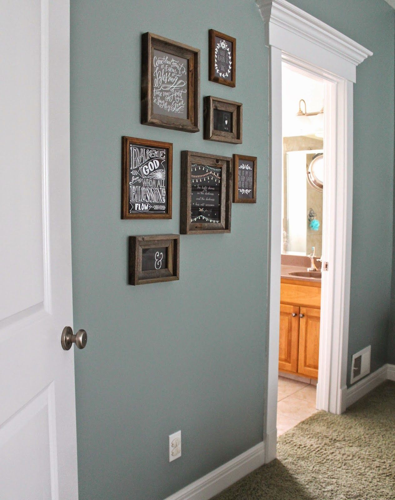 Paint color valspar blue arrow dark rustic frames hobby Hallway colour scheme ideas
