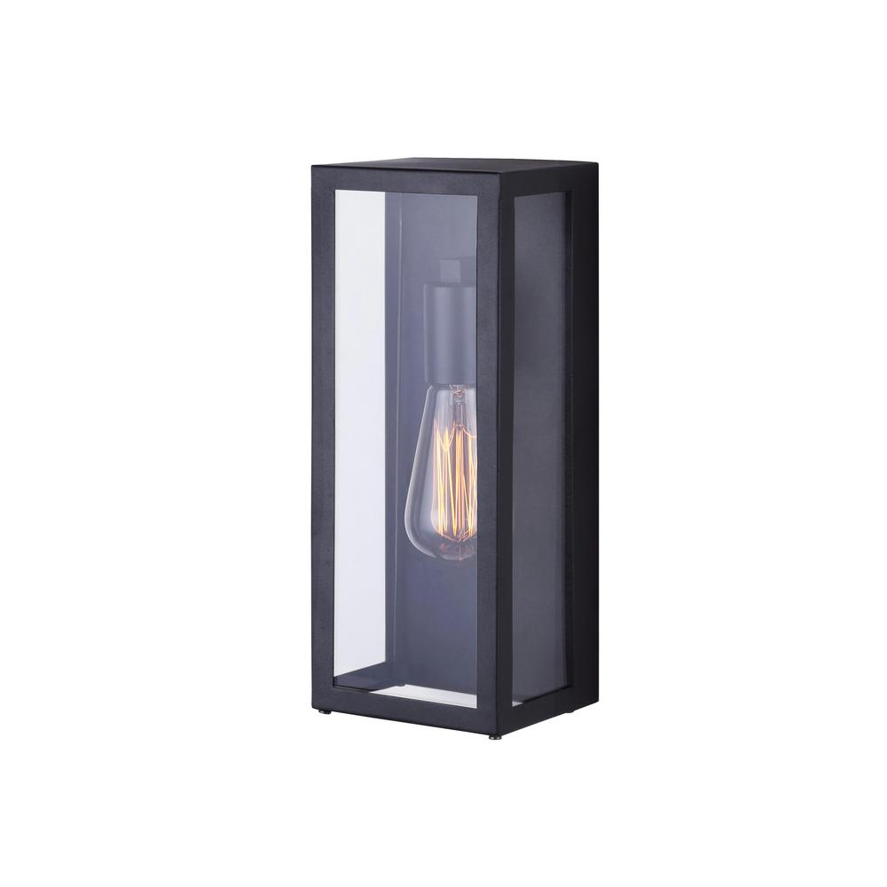 galia 1 light black outdoor wall light with clear glass outdoor