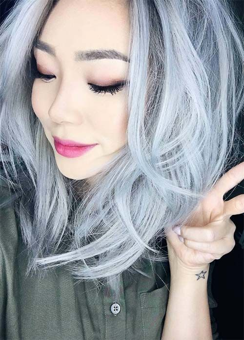 Granny Silver/ Grey Hair Color Ideas: Pastel Ice Gray Hair | Hair ...