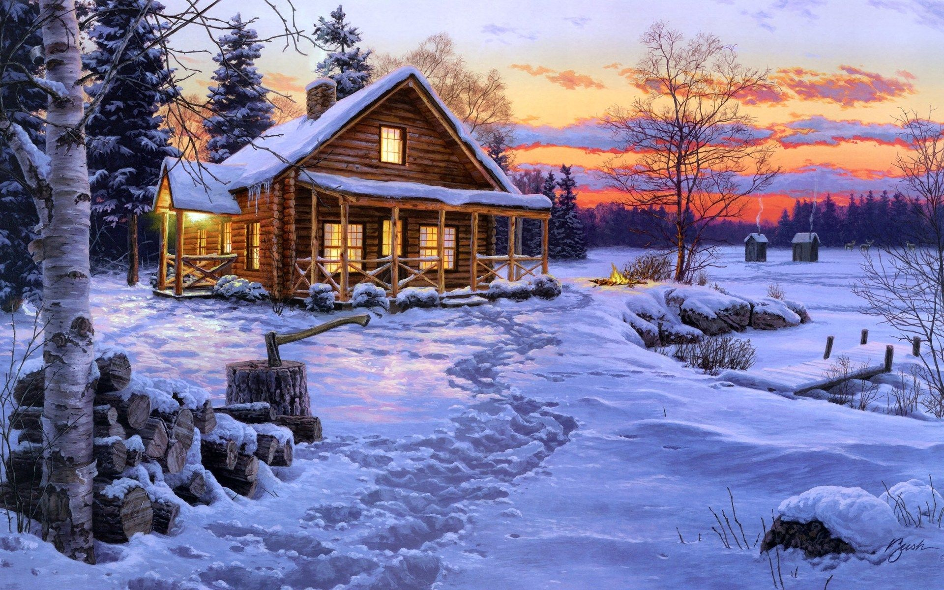 Log cabin in the woods painting - Winter Scenes