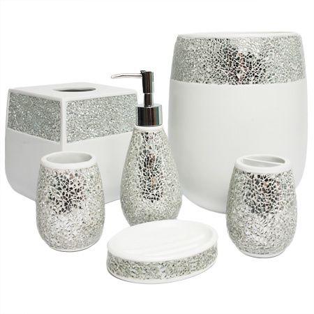 Silver Bathroom Decor, Silver Bathroom Accessories Set