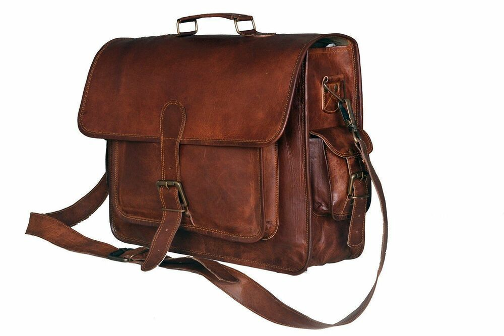accf4216422f New Brown Mens Genuine Leather Large Laptop Case for computer bag shoulder  .  Handmade  MessengerShoulderBag