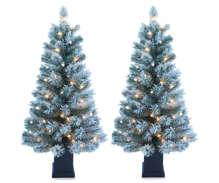 i found a 35 dasher flocked pre lit artificial christmas urn trees 2 pack at big lots for less find more trees at biglotscom
