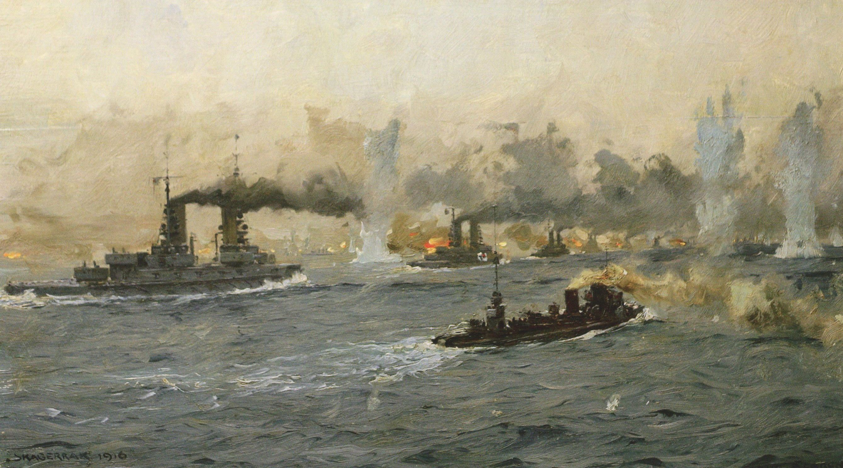German Battleships And Destroyers In Action Battle Of Jutland 31st May Picture By Claus