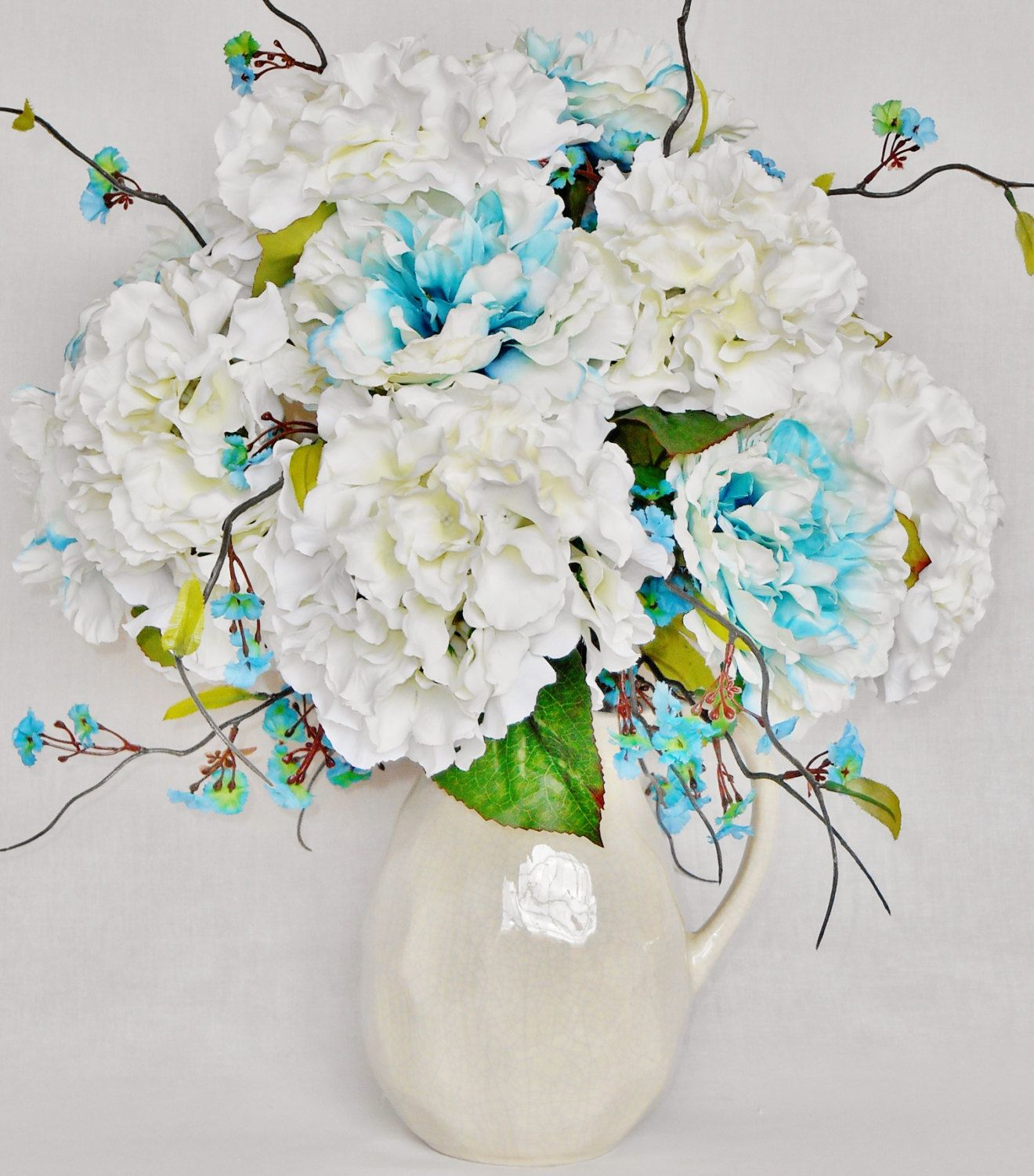 artificial flower arrangement turquoise white peonies. Black Bedroom Furniture Sets. Home Design Ideas