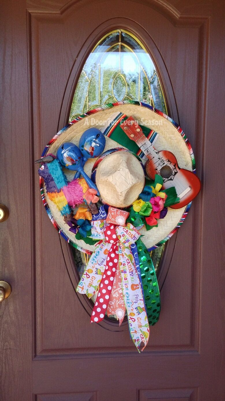 Sombrero Wreath Door Hanger Cinco De Mayo Decor Mexican Heritage