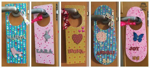 Colgador de puerta infantil con nombre decorado con - Papel decoupage infantil ...