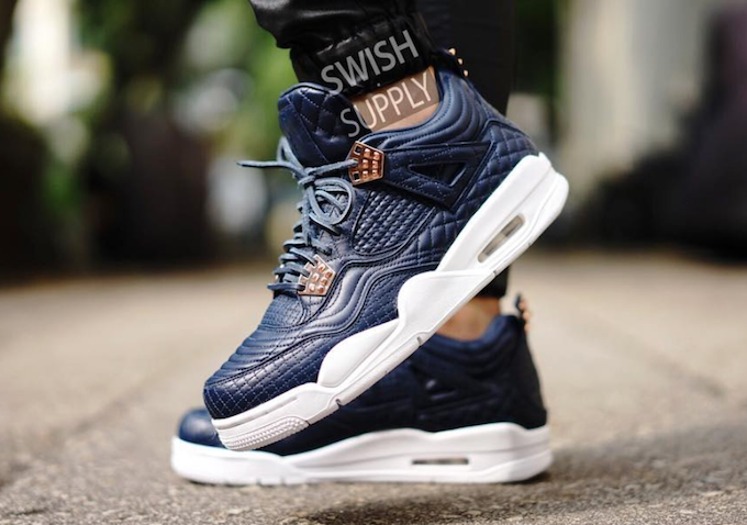 ec9bd8e8097b Air Jordan 4 Premium Obsidian Lamb Skin On Feet