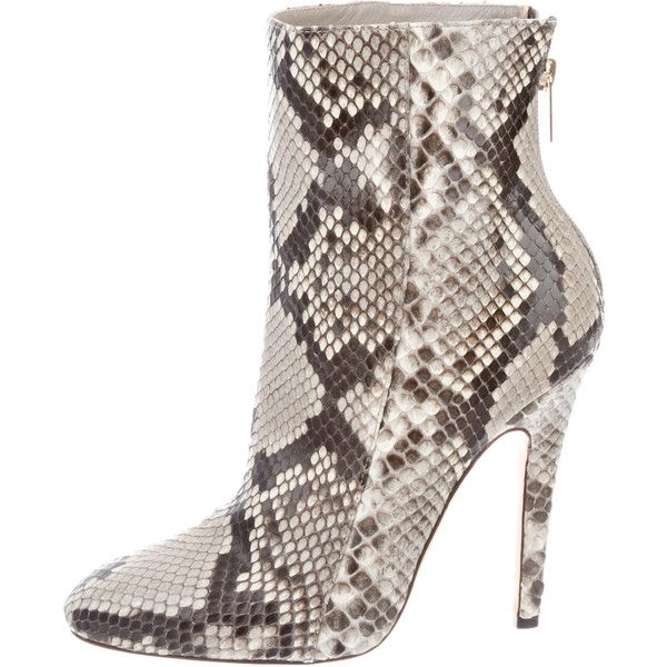 Snakeskin boots, Grey ankle boots
