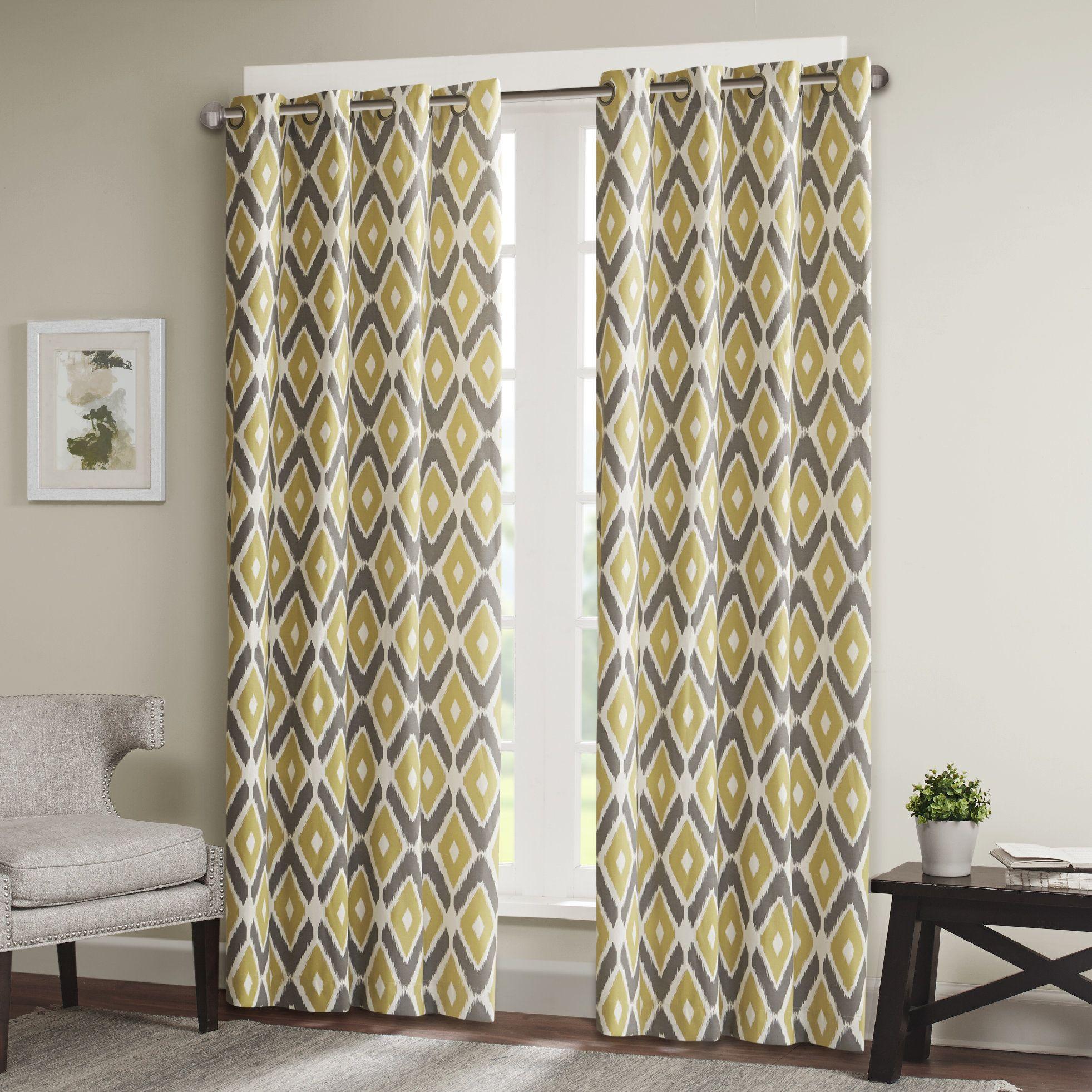 Boyer Light Ikat SemiSheer Grommet Single Curtain Panel