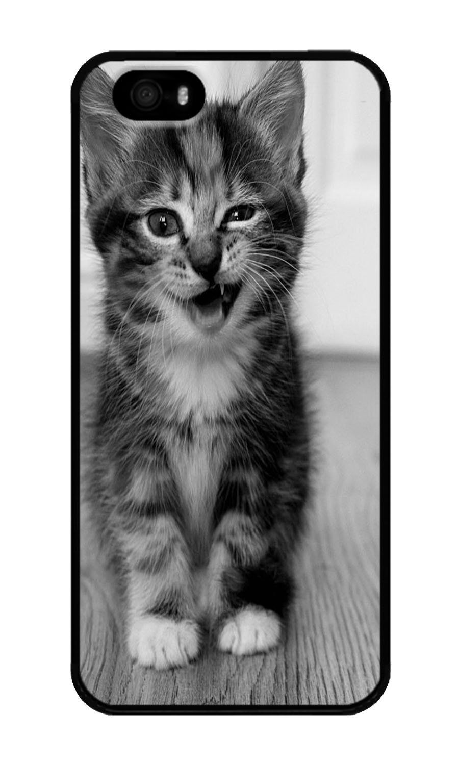 Amazon Com Iphone 5 5s Case Dayimm Cute Funny Kitten Kitty Cat Black Pc Hard Case For Apple Iphone 5 5s Electronics Cute Animals Cute Cats Kittens Funny