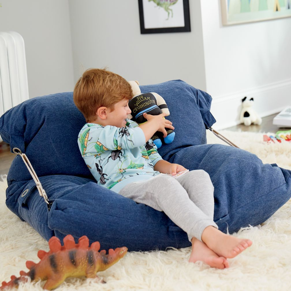 Kids Blue Bean Bag Bed Chair + Reviews Crate and Barrel
