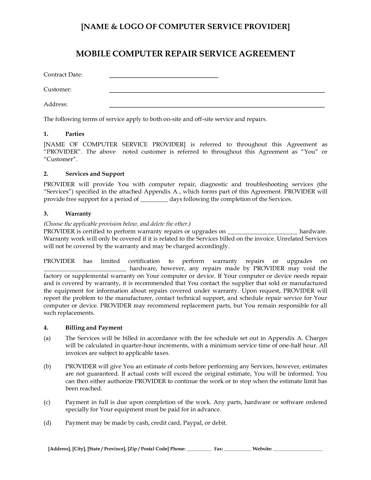 Computer Support Computer Support Service Agreement