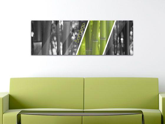 Wandbild #Wohnzimmer Bamboo Bambus #Glasbilder #Schwarz Weiß - wandbilder wohnzimmer modern