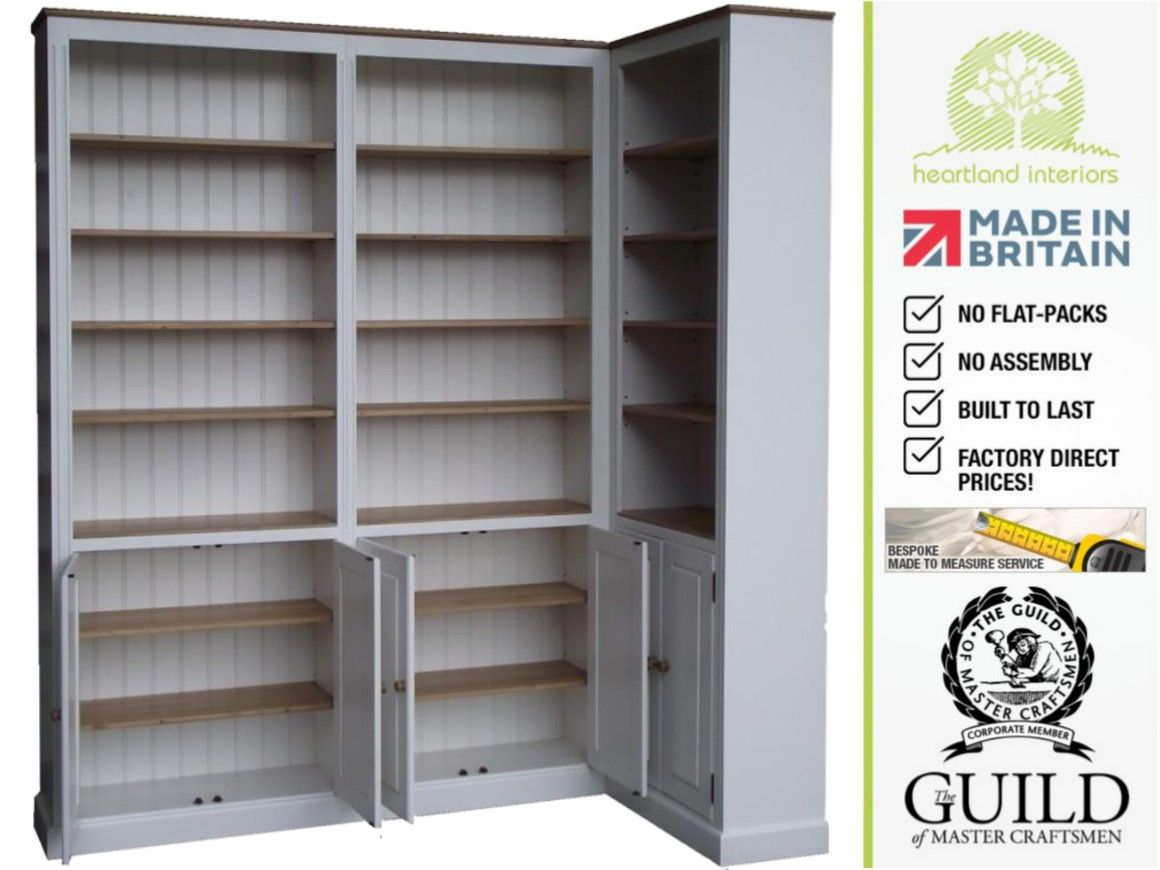 Traditional 8ft Tall Painted Corner Bookcase With Doors Crnbk8