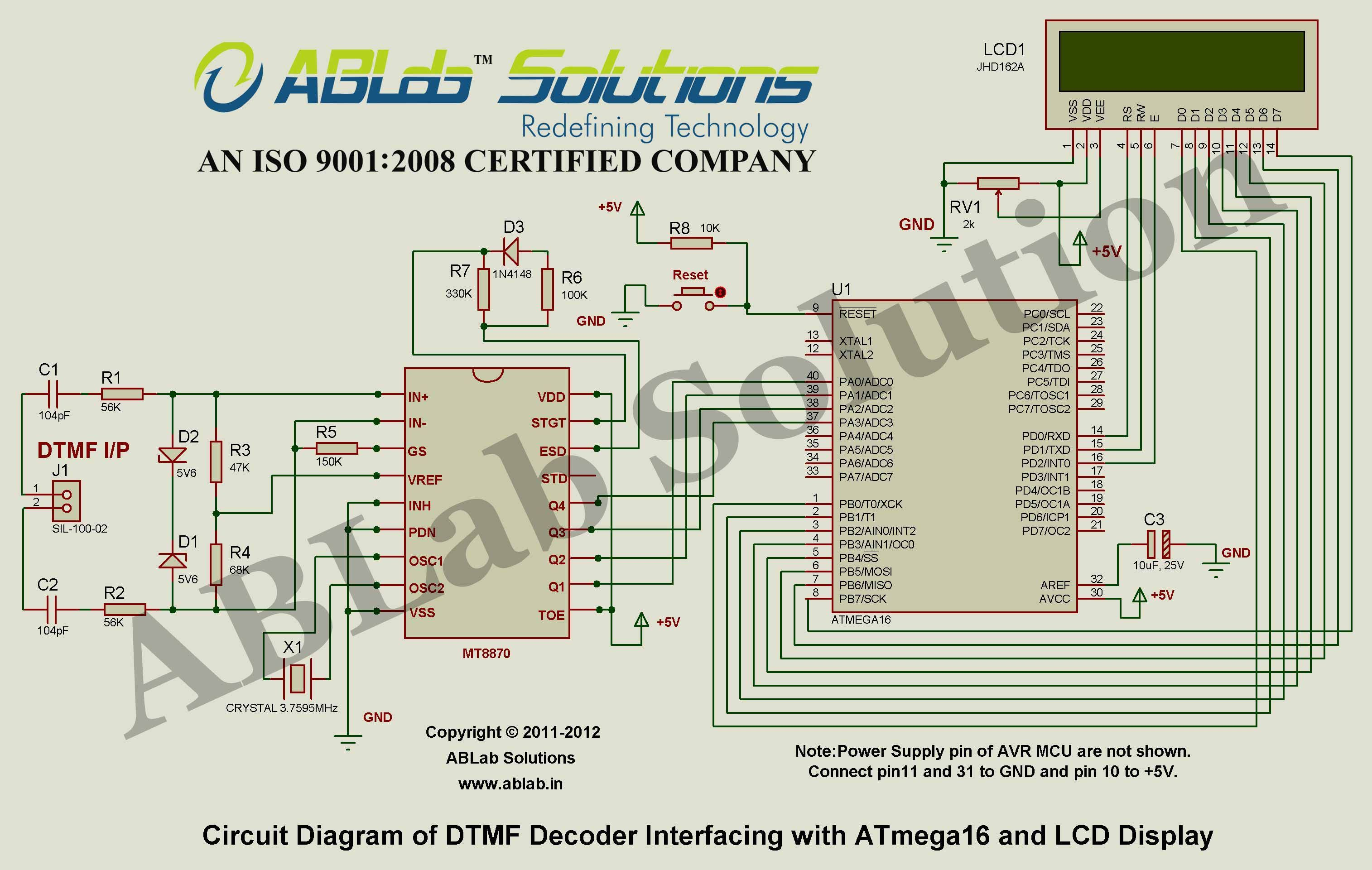 Dtmf Decoder Interfacing With Avr Atmega16 Microcontroller And Lcd Phone