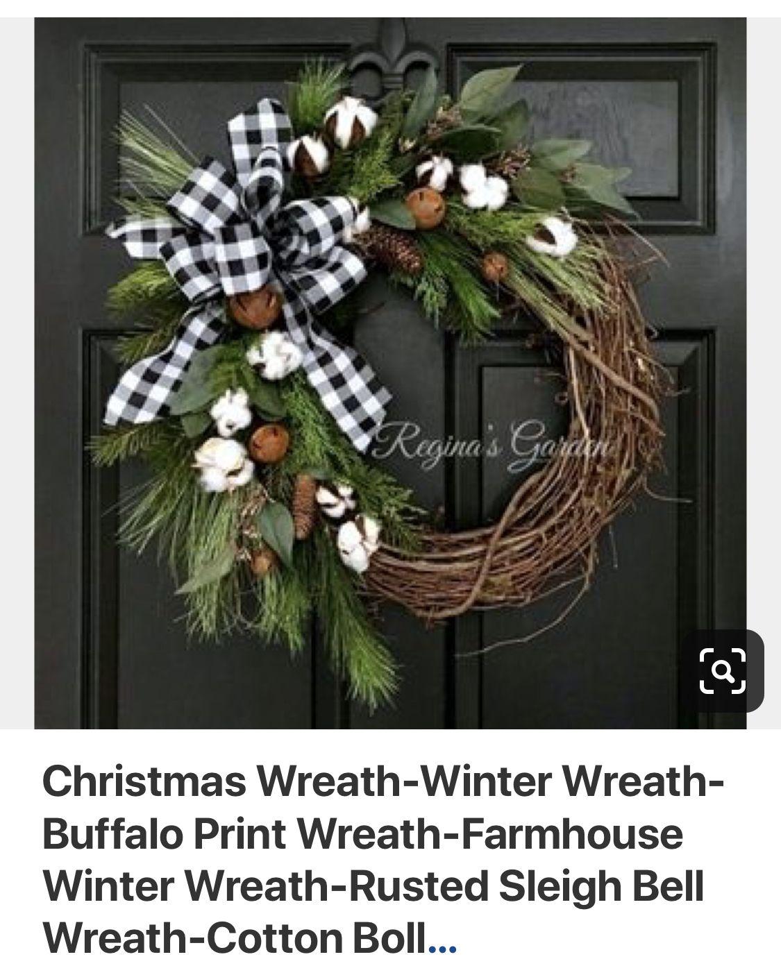 Winter Wreath Sled Decor Winter Door Wreath Christmas Wreath Winter Wreaths for Front Door Rustic Christmas Wreath