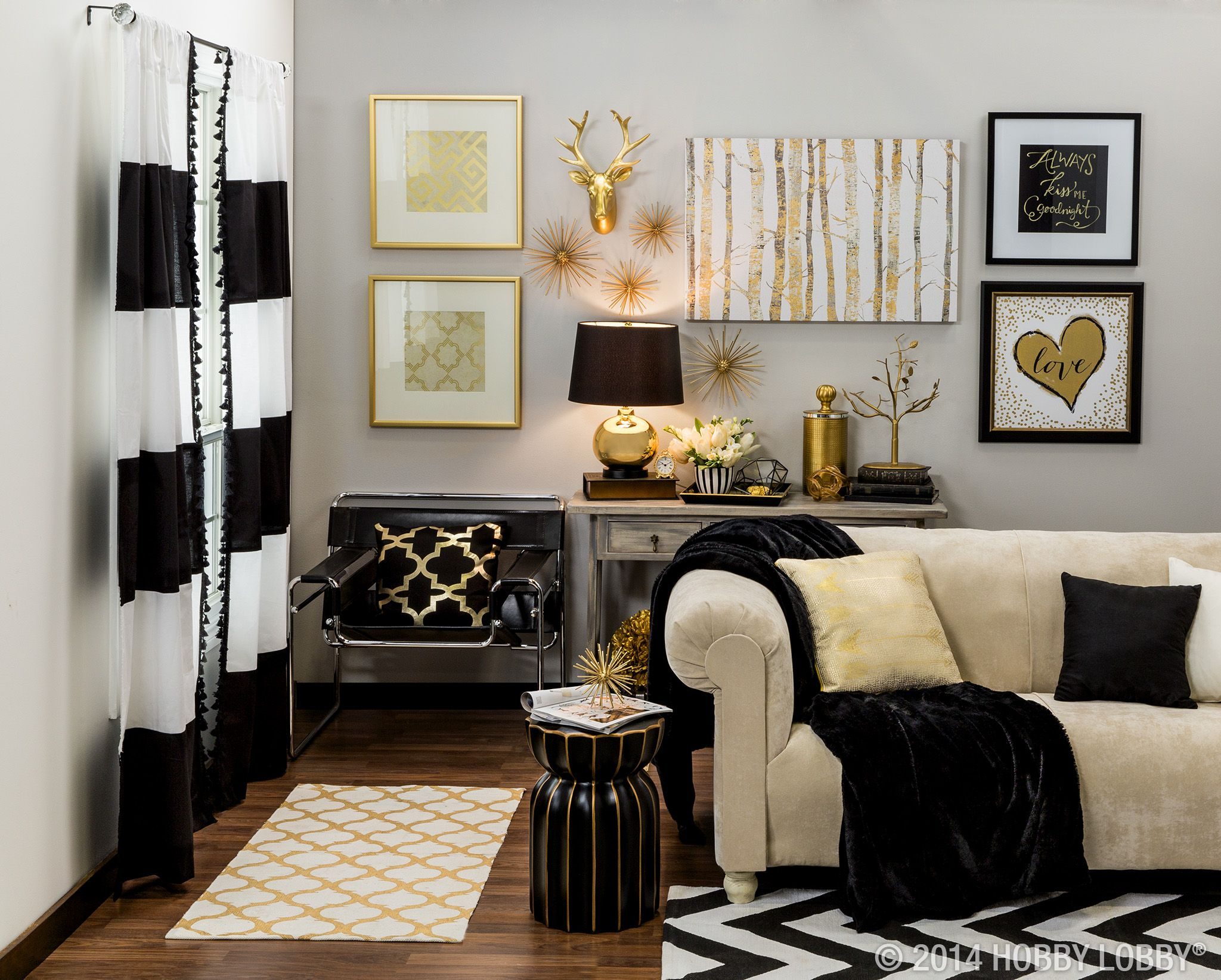 Make a grand statement with metallic gold and black home - Black accessories for living room ...