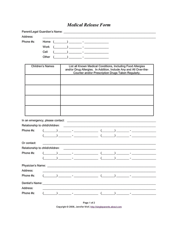 Printable Medical Release Form For Children Do You Have A Medical Release Form For Your Kids  Pinterest .