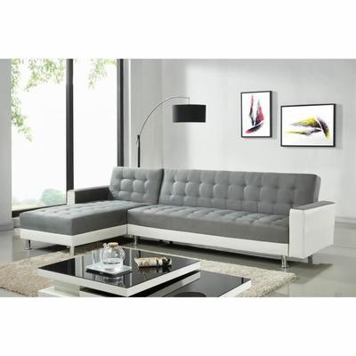 LUXURY Canapé du0027angle réversible convertible 5 places - Tissu gris - salon d angle de jardin