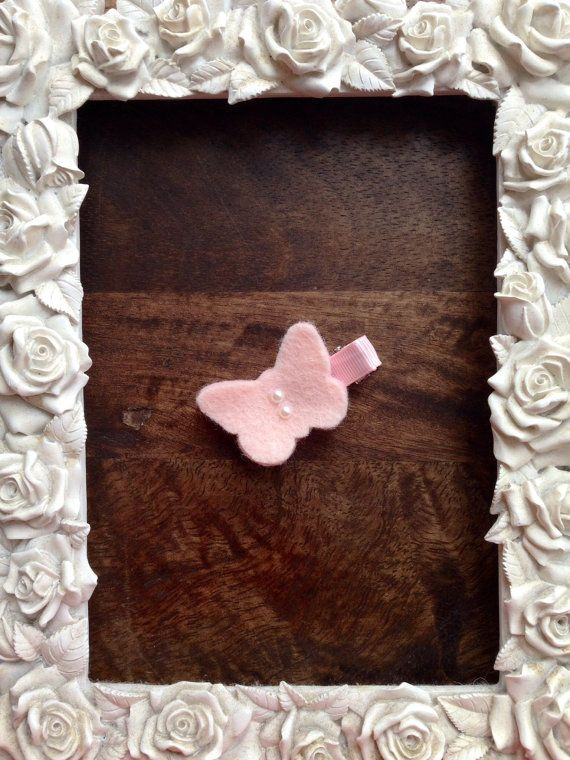 Two Tone Pink Layered Felt Butterfly Hair Clip by LittleBowtique20