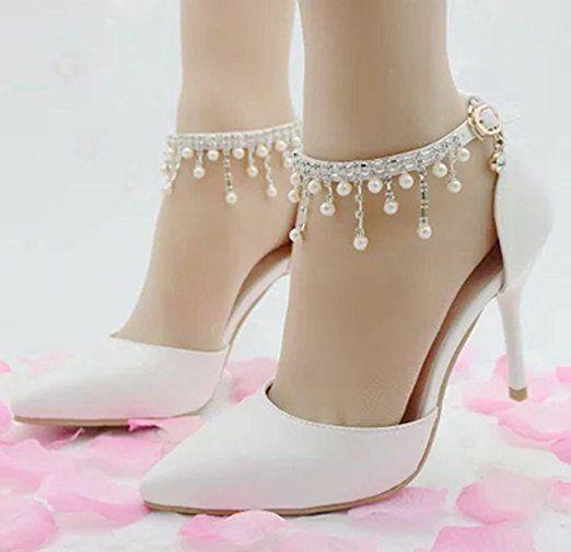 Frauen PU Sexy Mode Perlen Spitze Hochzeit Heels Brautjungfer Heels Hochzeit Schuhe Stiletto Heel Rote Ferse Hohe...