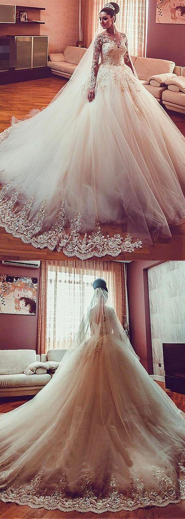 [246.00]  Glamourösen Tüll Juwel Ausschnitt Ballkleid Brautkleid mit Perlen Spitzenapplikationen - #Ausschnitt #Ballkleid #Brautkleid #Glamourösen #Juwel #mit #Perlen #Spitzenapplikationen #Tüll #spitzeapplique