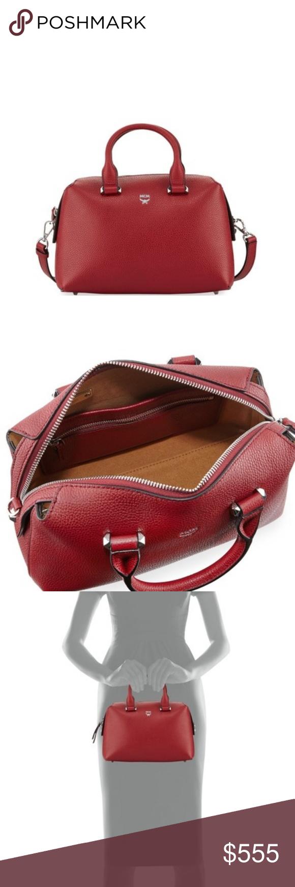 e8dc2ce602833c MCM Ella Boston Small Red Burgundy Satchel MCM pebbled leather satchel bag  with silvertone hardware.