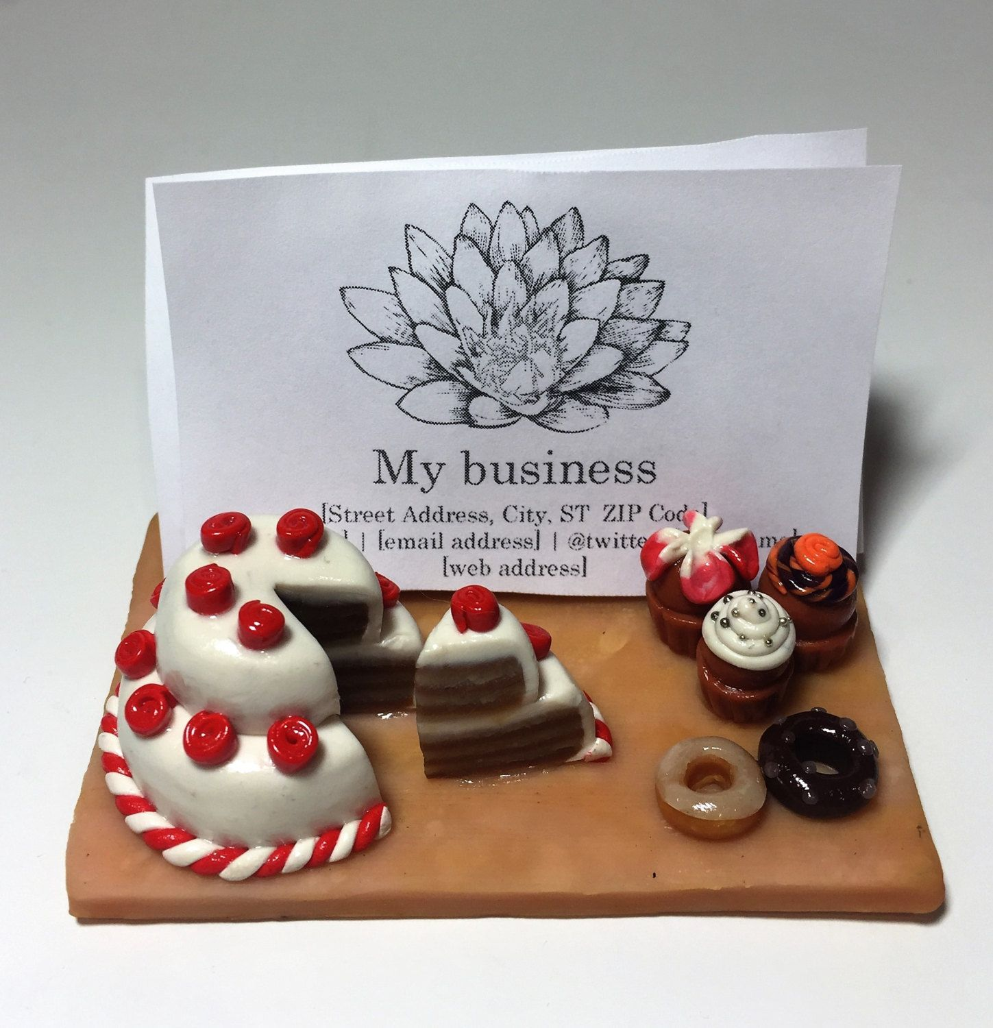 Custom Business Card Holder for Baking Business (Polymer Clay ...