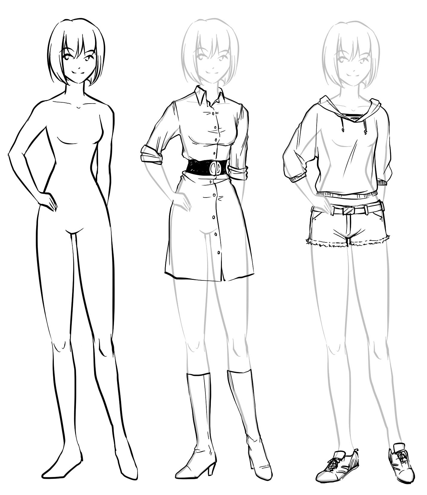 Anime girl full body drawing with clothing how to draw anime body with clothes how to draw anime poses and