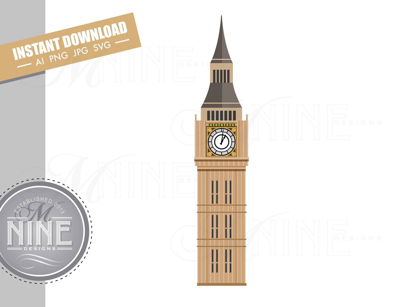 Big Ben Clip Art Downloads Vector Big Ben Ai Png Jpg Svg Pdf Etsy Big Ben Big Ben Artwork Clip Art