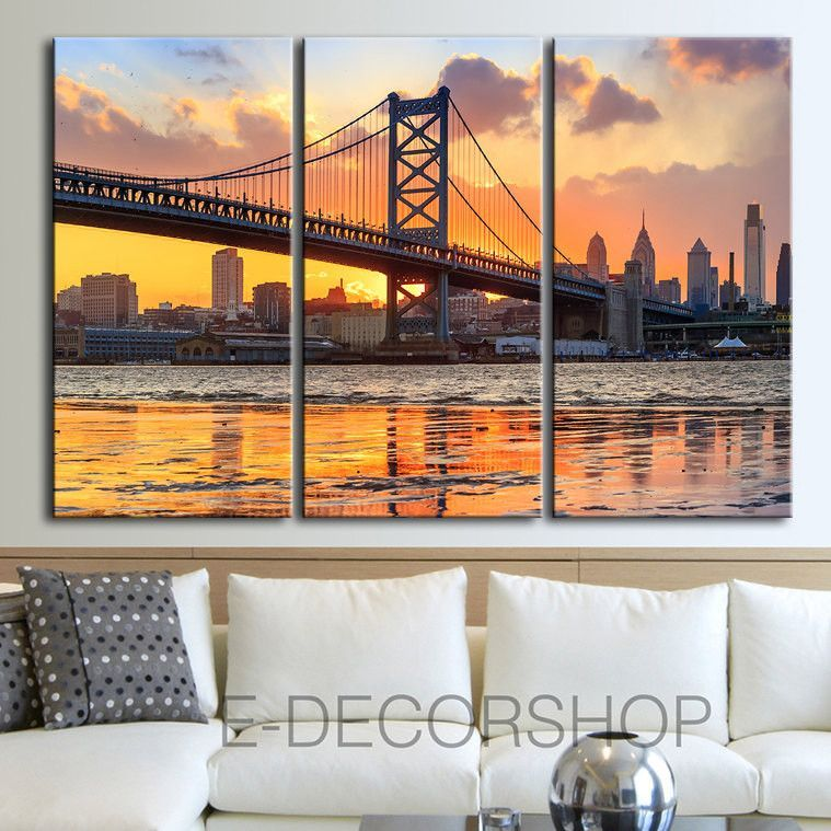 Large Wall Art Canvas Print Ben Franklin Bridge And Philadelphia Skyline By Night Philadelphia Large Canvas Wall Art Philadelphia Canvas Art Canvas Art Prints