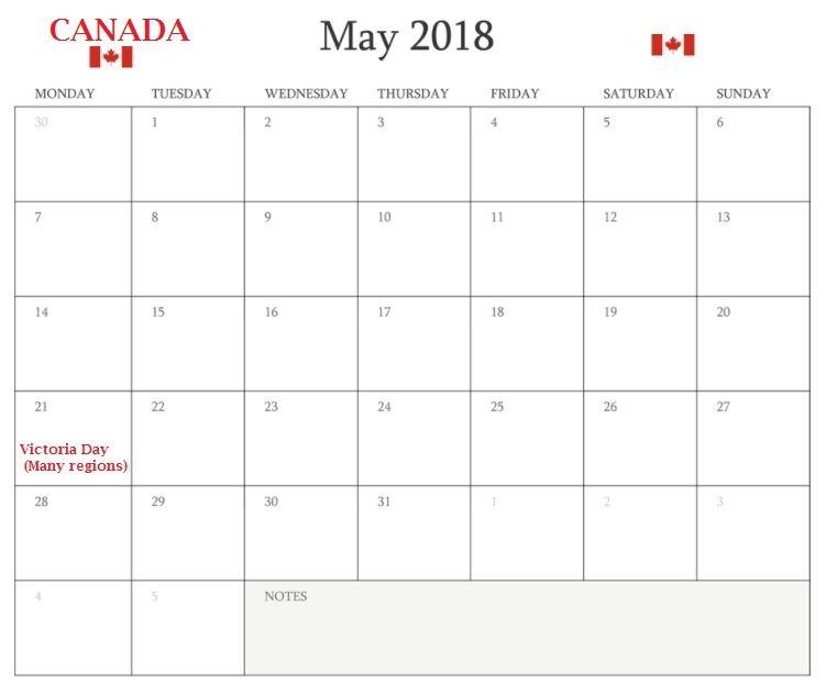 May 2018 Canada Holidays Calendar Template Latest Calendar - holiday calendar template
