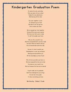 Preschool Graduation Poem For End of Year | Preschool ...