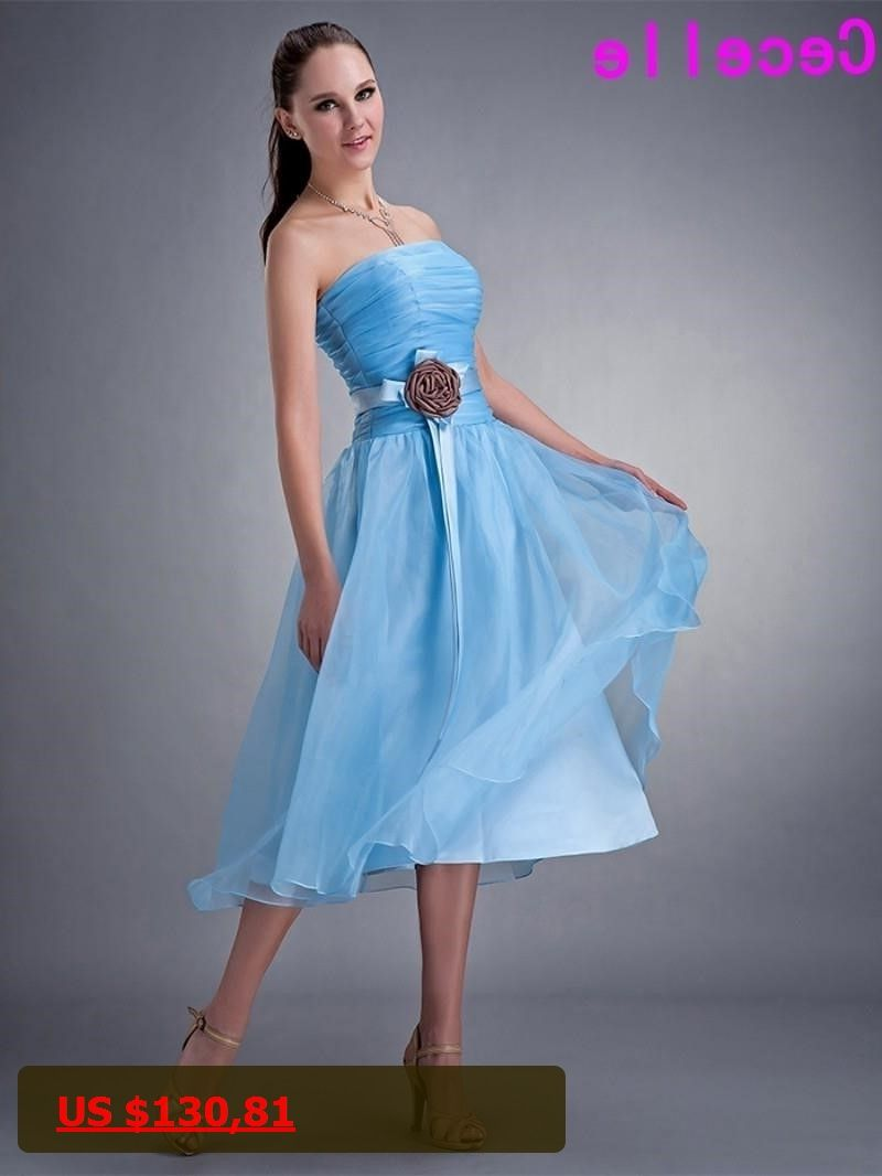 Real Images Short Tea Length blue Strapless Ruching Organza Bridesmaids  Dresses Flowers Free Shipping Country Bridesmaid ca792010c09f