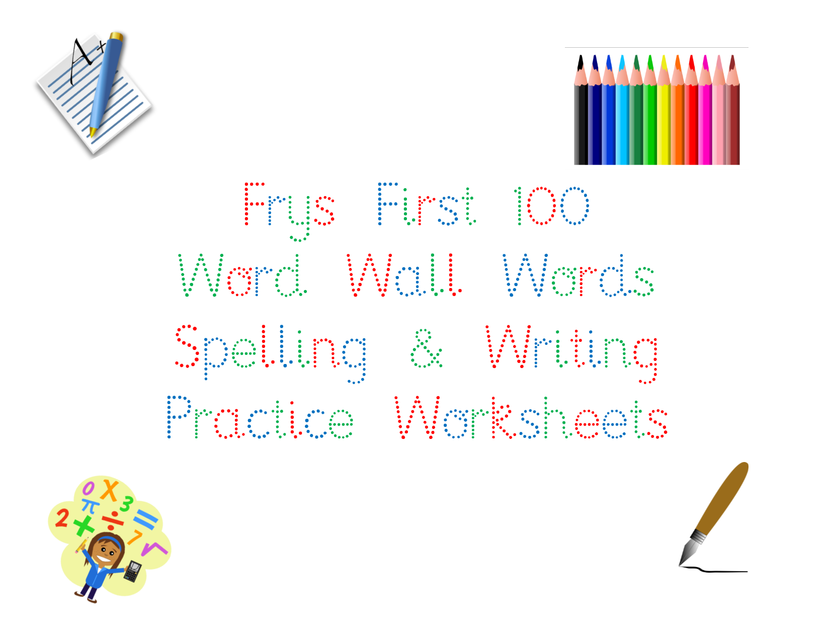 photo regarding Free Printable Spelling Practice Worksheets called No cost Printable! Frys 1st 100 Term Wall Phrases Creating and