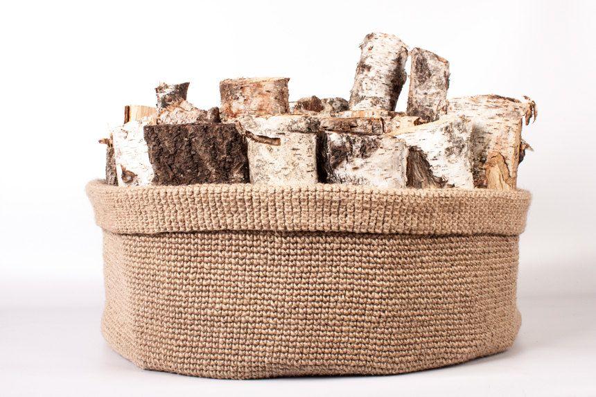 Basket for firewoods, Interior Basket, Toys Basket, Handmade crochet basket, knitted storage basket by Boandcohome on Etsy