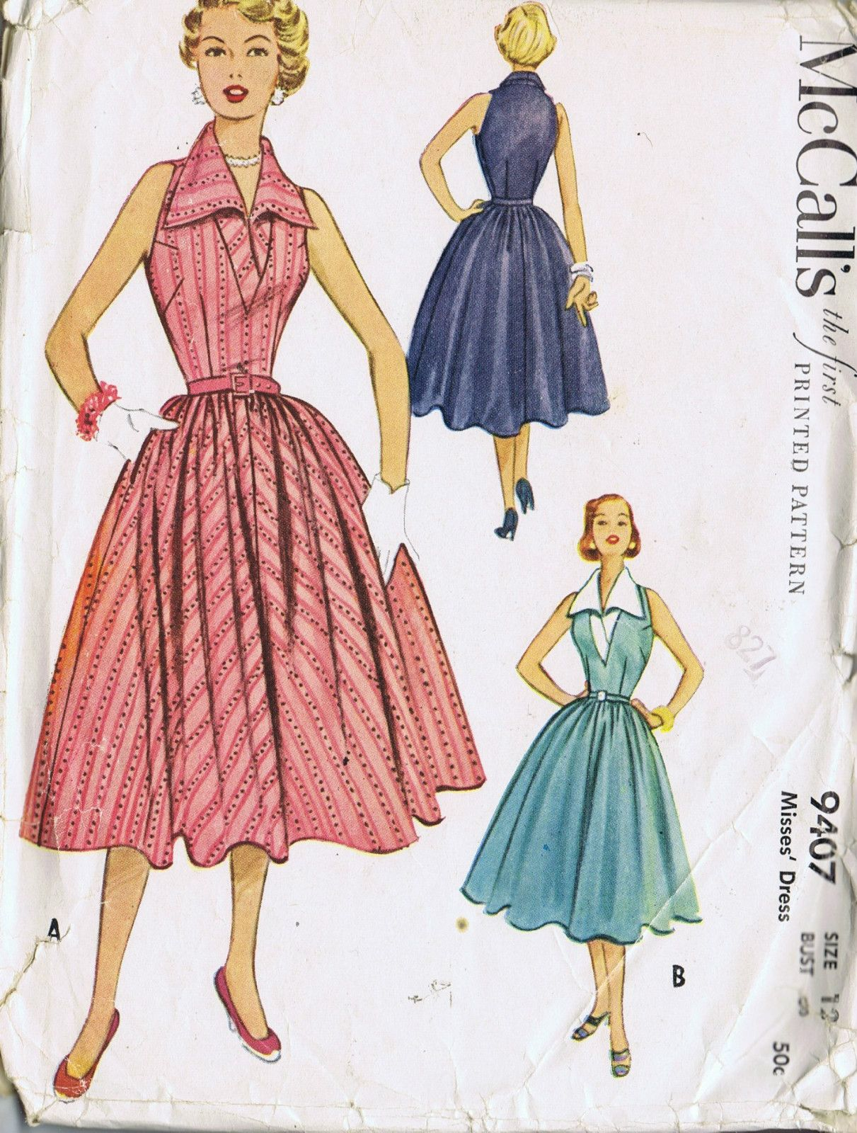 VINTAGE ONE PIECE DRESS SEWING PATTERN 50s MCCALL\'S 9407 SIZE 12 ...