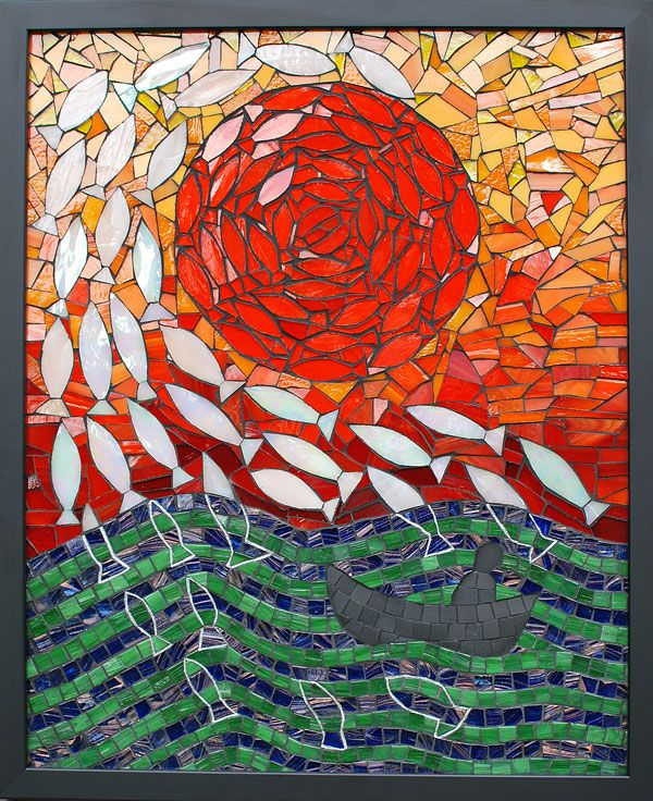 """""""Where All The Fish Go"""" 2013.  Stained glass, silver ink, glass and ceramic tile on cement board Approx 50cm x 40cm Inspired by a mackerel sky   by Kate Rattray"""